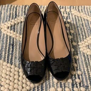 Navy Tory Burch Patent Leather Wedges - Size 9
